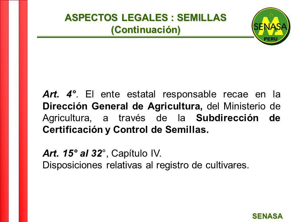 SENASA ASPECTOS LEGALES : SEMILLAS (Continuación) Art. 4°. El ente estatal responsable recae en la Dirección General de Agricultura, del Ministerio de