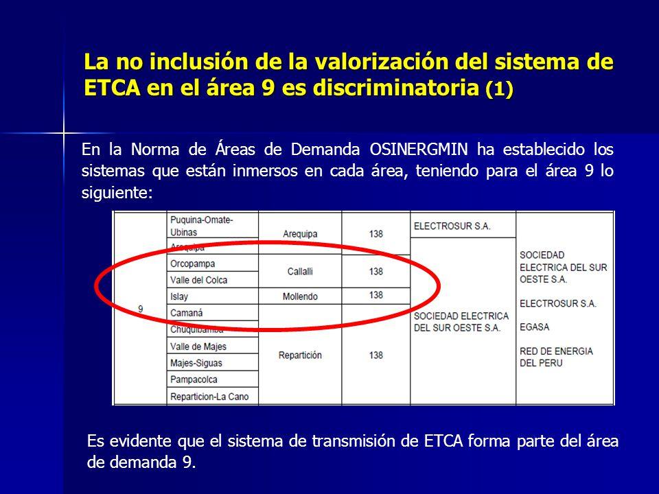 La no inclusión de la valorización del sistema de ETCA en el área 9 es discriminatoria (1) En la Norma de Áreas de Demanda OSINERGMIN ha establecido los sistemas que están inmersos en cada área, teniendo para el área 9 lo siguiente: Es evidente que el sistema de transmisión de ETCA forma parte del área de demanda 9.
