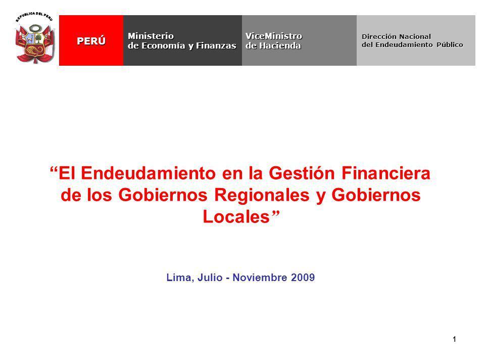 1 El Endeudamiento en la Gestión Financiera de los Gobiernos Regionales y Gobiernos Locales Lima, Julio - Noviembre 2009 ViceMinistro de Hacienda Mini