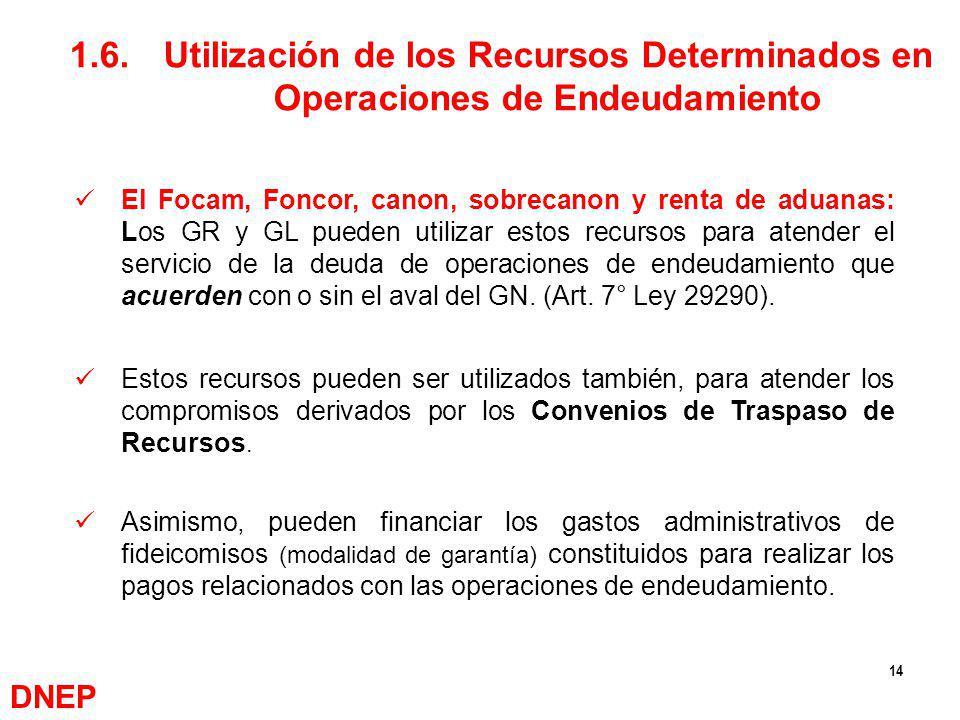 14 El Focam, Foncor, canon, sobrecanon y renta de aduanas: Los GR y GL pueden utilizar estos recursos para atender el servicio de la deuda de operacio
