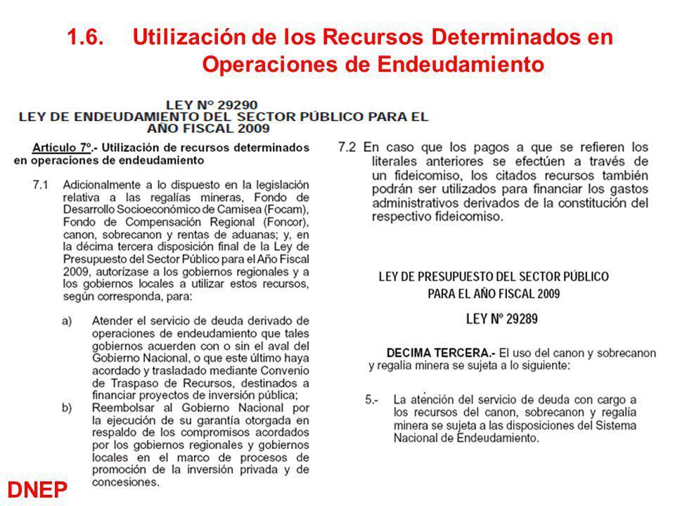 15 1.6.Utilización de los Recursos Determinados en Operaciones de Endeudamiento DNEP