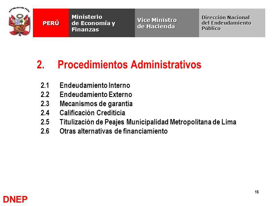16 2. Procedimientos Administrativos Vice Ministro de Hacienda Ministerio de Economía y Finanzas PERÚ Dirección Nacional del Endeudamiento Público 2.1