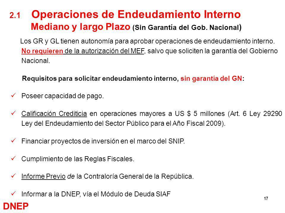 17 Los GR y GL tienen autonomía para aprobar operaciones de endeudamiento interno. No requieren de la autorización del MEF, salvo que soliciten la gar
