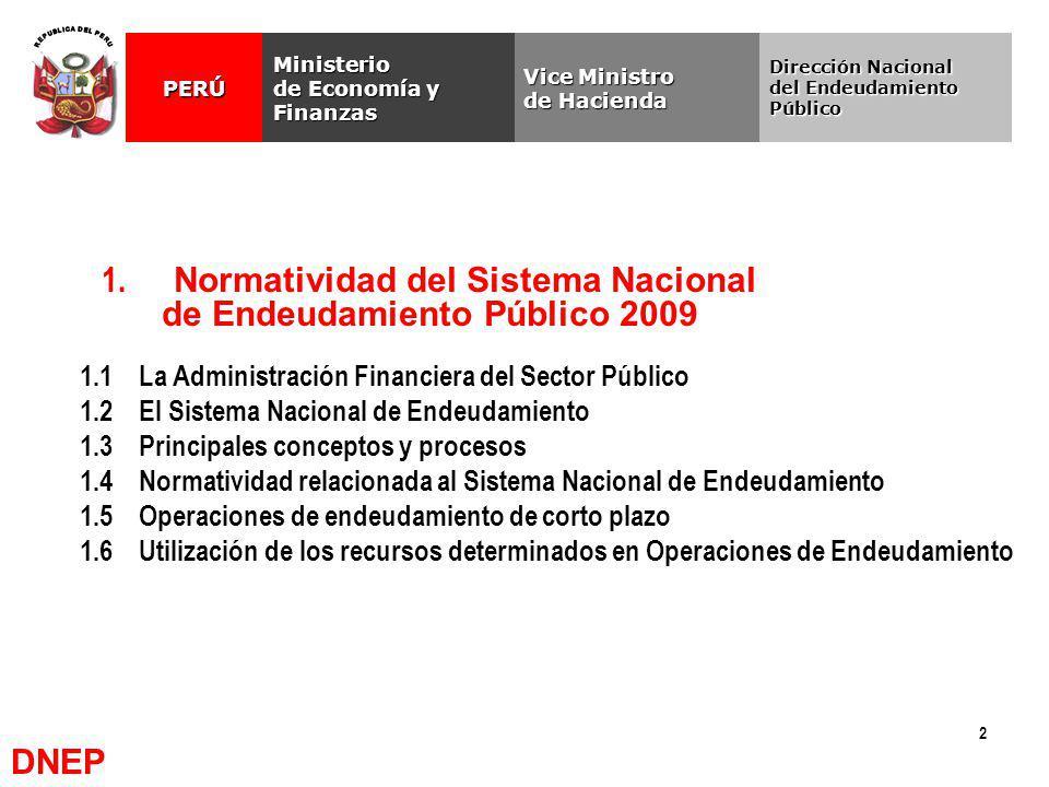 2 1. Normatividad del Sistema Nacional de Endeudamiento Público 2009 Vice Ministro de Hacienda Ministerio de Economía y Finanzas PERÚ Dirección Nacion