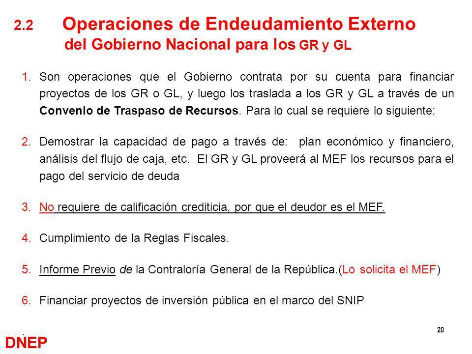 20 1.Son operaciones que el Gobierno contrata por su cuenta para financiar proyectos de los GR o GL, y luego los traslada a los GR y GL a través de un
