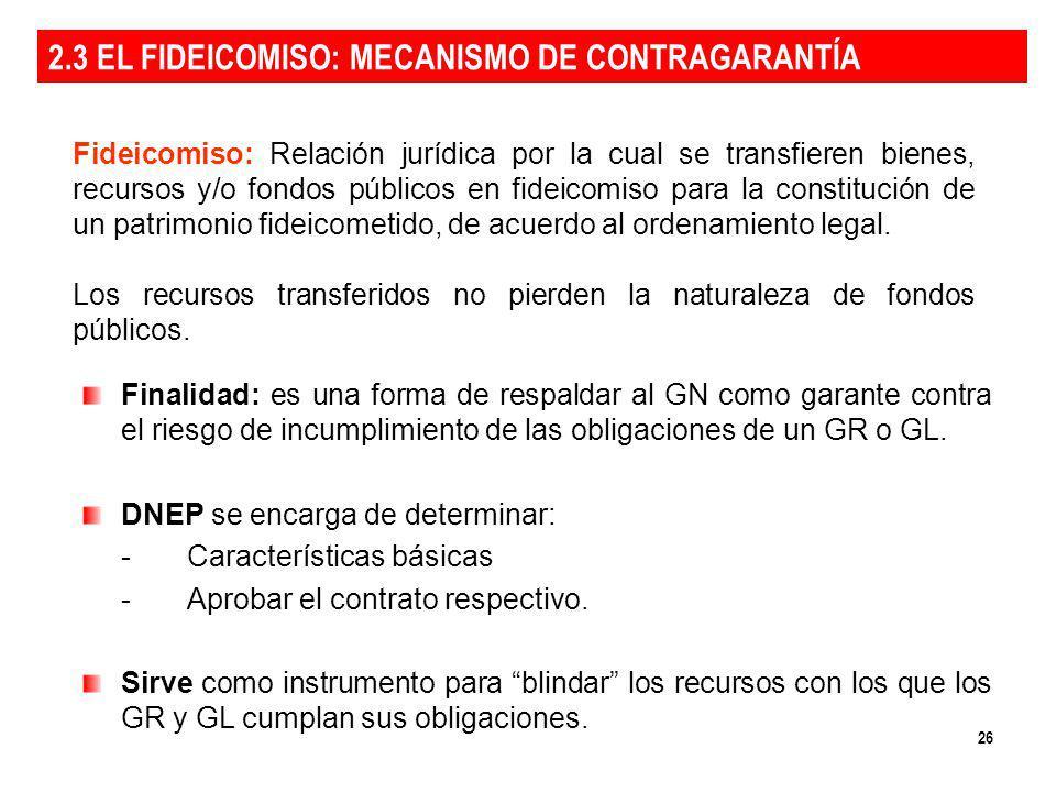 26 Fideicomiso: Relación jurídica por la cual se transfieren bienes, recursos y/o fondos públicos en fideicomiso para la constitución de un patrimonio