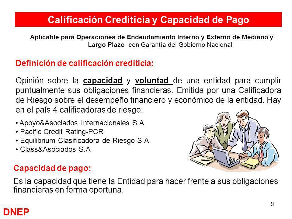 31 Calificación Crediticia y Capacidad de Pago Capacidad de pago: Es la capacidad que tiene la Entidad para hacer frente a sus obligaciones financiera