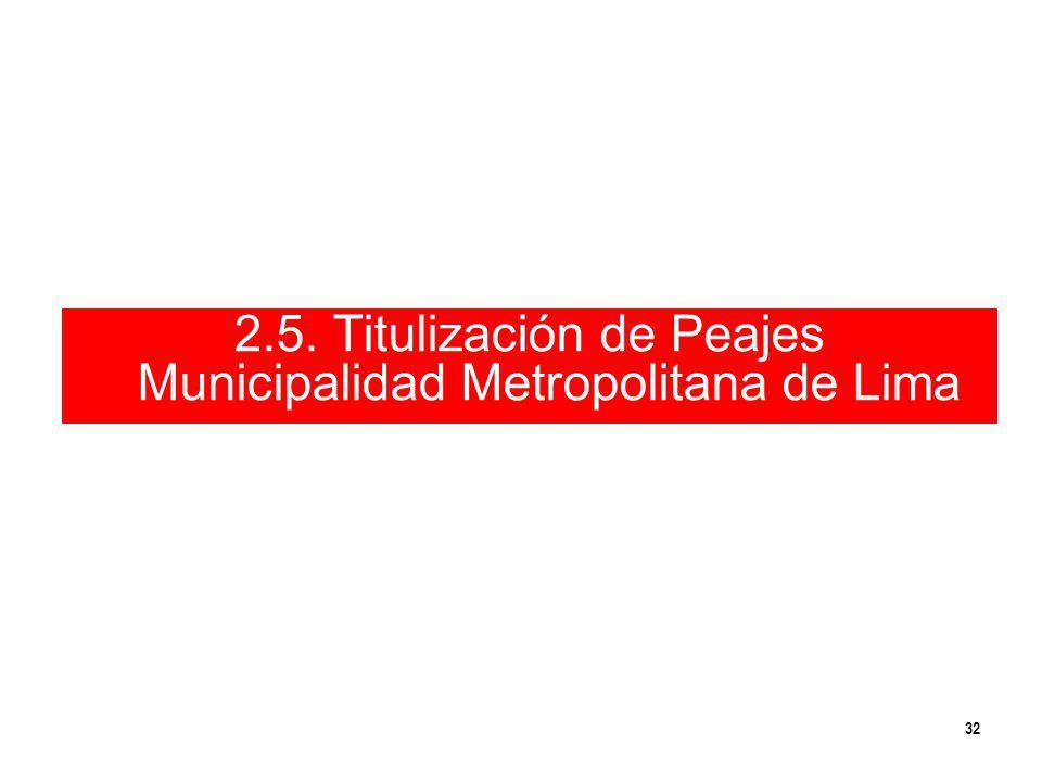 32 2.5. Titulización de Peajes Municipalidad Metropolitana de Lima