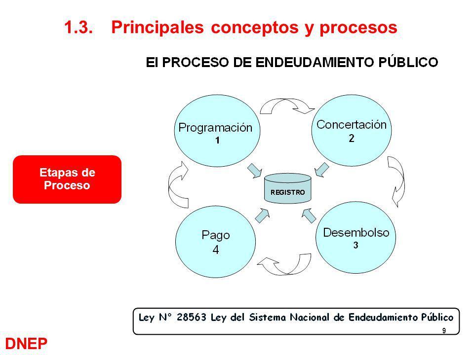 9 1.3.Principales conceptos y procesos Etapas de Proceso DNEP