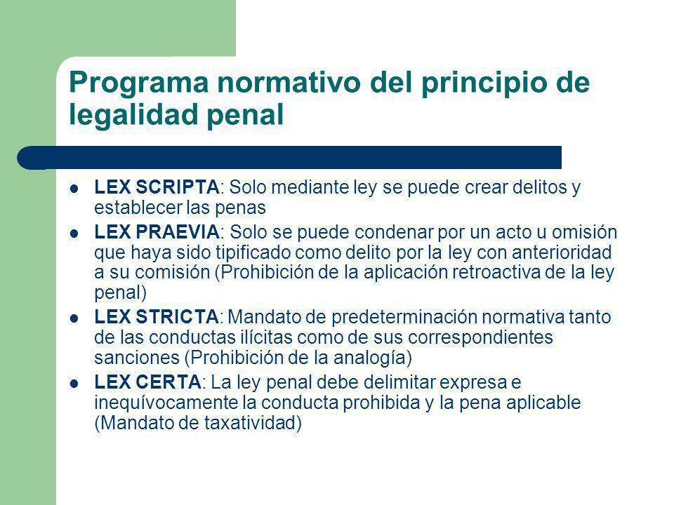 Programa normativo del principio de legalidad penal LEX SCRIPTA: Solo mediante ley se puede crear delitos y establecer las penas LEX PRAEVIA: Solo se