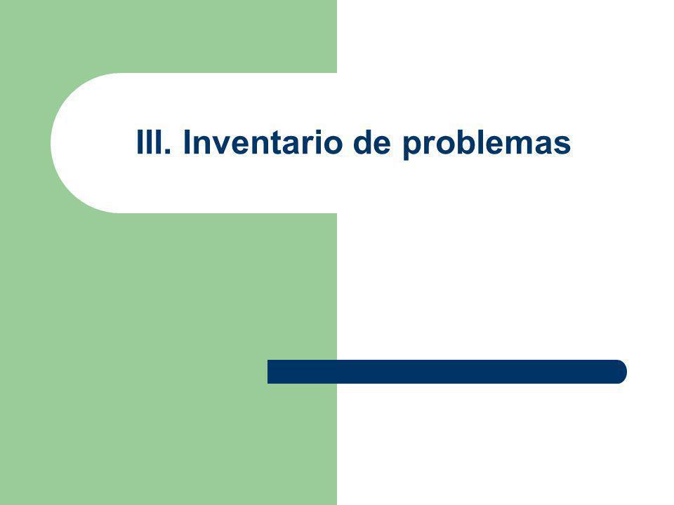 III. Inventario de problemas