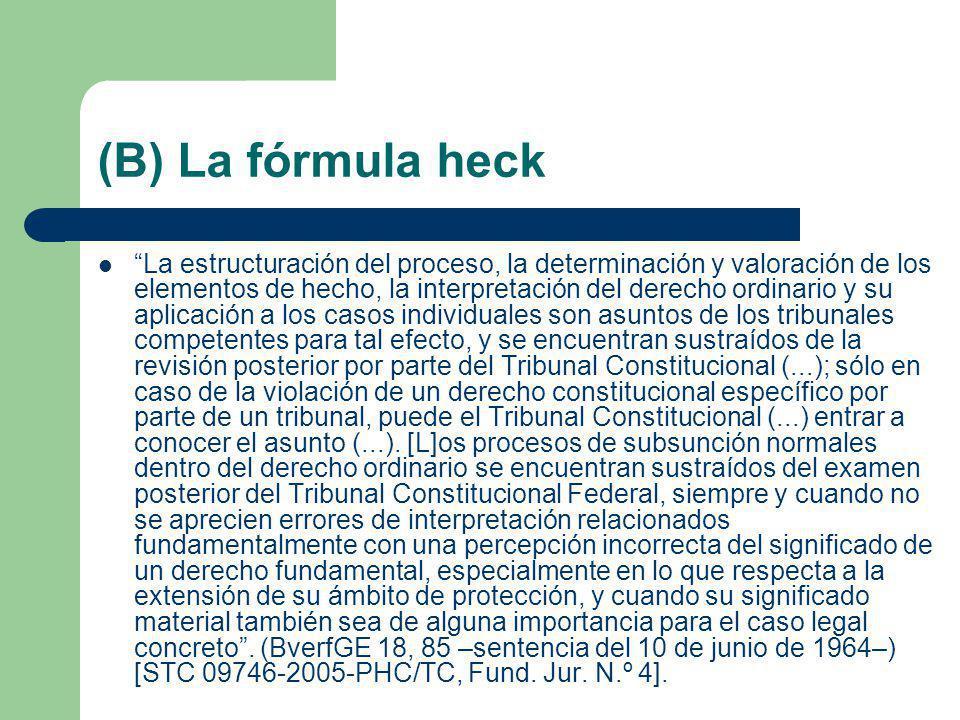 (B) La fórmula heck La estructuración del proceso, la determinación y valoración de los elementos de hecho, la interpretación del derecho ordinario y
