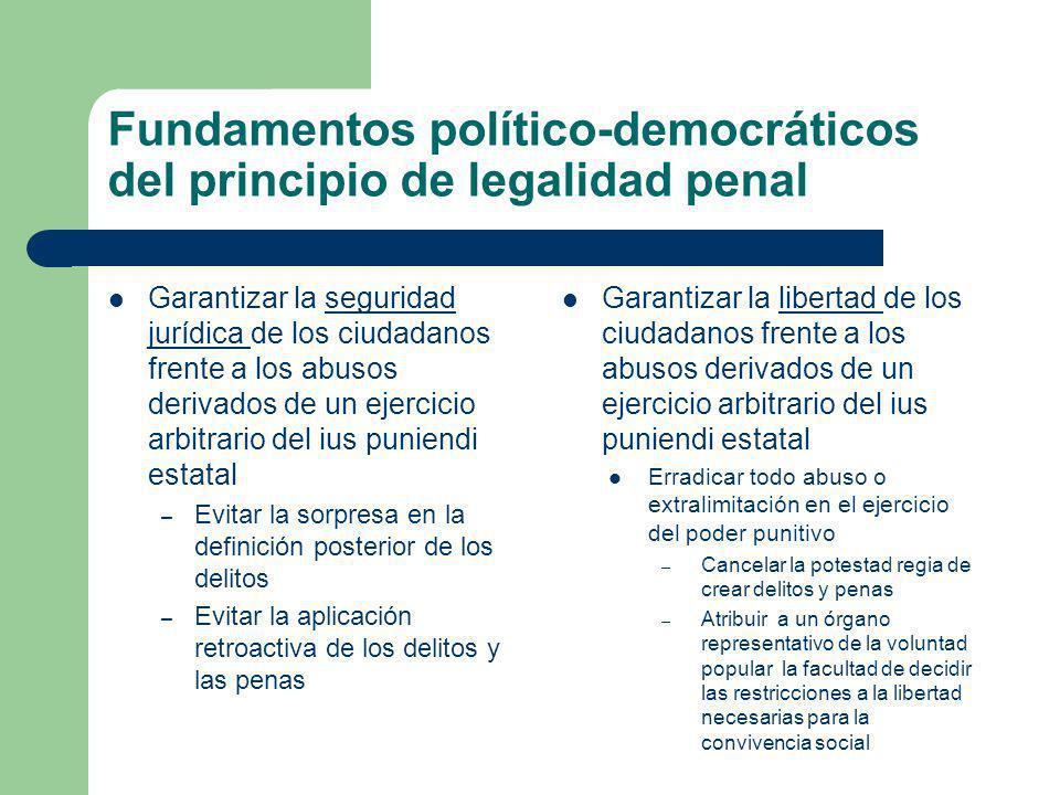 Fundamentos político-democráticos del principio de legalidad penal Garantizar la seguridad jurídica de los ciudadanos frente a los abusos derivados de