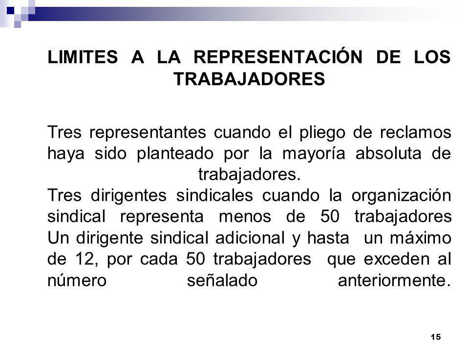 14 AMPARO DEL FUERO SINDICAL Los miembros de la comisión negociadora gozan del amparo sindical desde el inicio de la negociación hasta tres meses desp