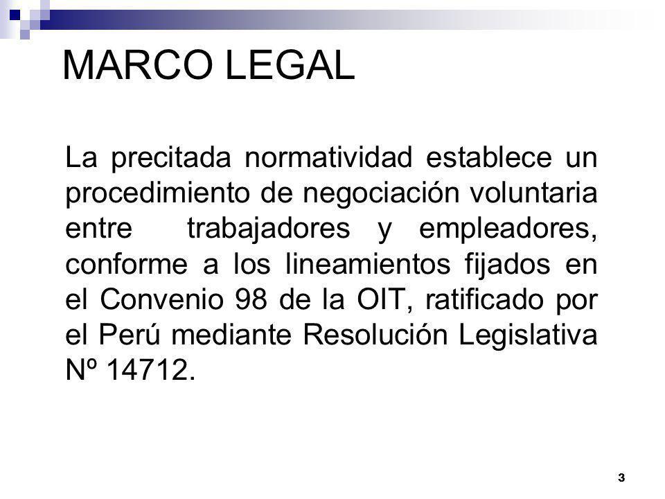 3 La precitada normatividad establece un procedimiento de negociación voluntaria entre trabajadores y empleadores, conforme a los lineamientos fijados en el Convenio 98 de la OIT, ratificado por el Perú mediante Resolución Legislativa Nº 14712.