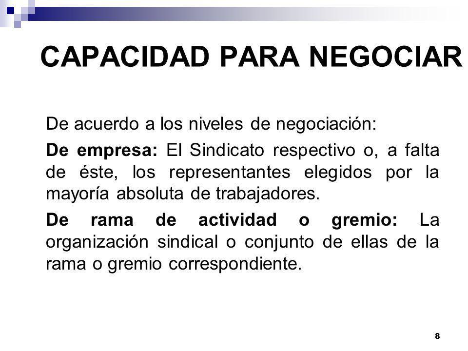 8 CAPACIDAD PARA NEGOCIAR De acuerdo a los niveles de negociación: De empresa: El Sindicato respectivo o, a falta de éste, los representantes elegidos por la mayoría absoluta de trabajadores.