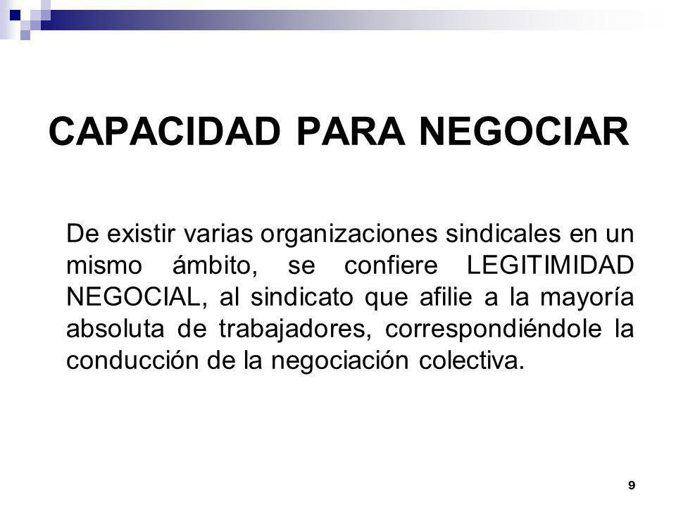 9 CAPACIDAD PARA NEGOCIAR De existir varias organizaciones sindicales en un mismo ámbito, se confiere LEGITIMIDAD NEGOCIAL, al sindicato que afilie a la mayoría absoluta de trabajadores, correspondiéndole la conducción de la negociación colectiva.