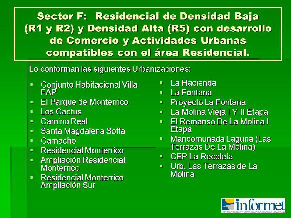 Sector F:Residencial de Densidad Baja (R1 y R2) y Densidad Alta (R5) con desarrollo de Comercio y Actividades Urbanas compatibles con el área Residenc