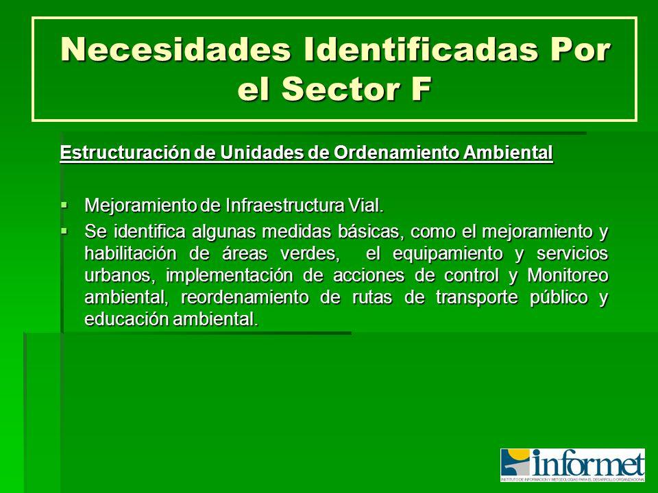 Necesidades Identificadas Por el Sector F Estructuración de Unidades de Ordenamiento Ambiental Mejoramiento de Infraestructura Vial. Mejoramiento de I