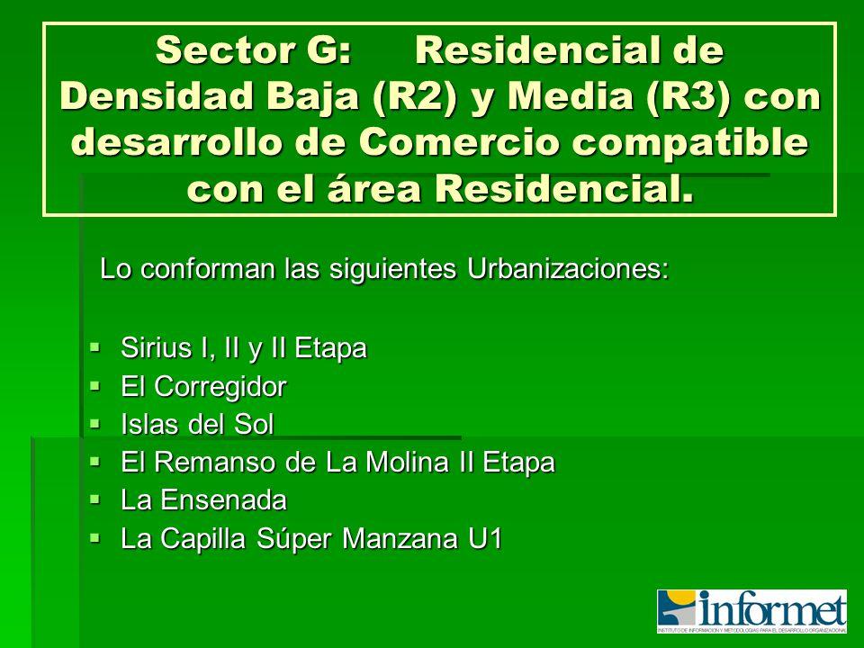 Sector G:Residencial de Densidad Baja (R2) y Media (R3) con desarrollo de Comercio compatible con el área Residencial. Lo conforman las siguientes Urb