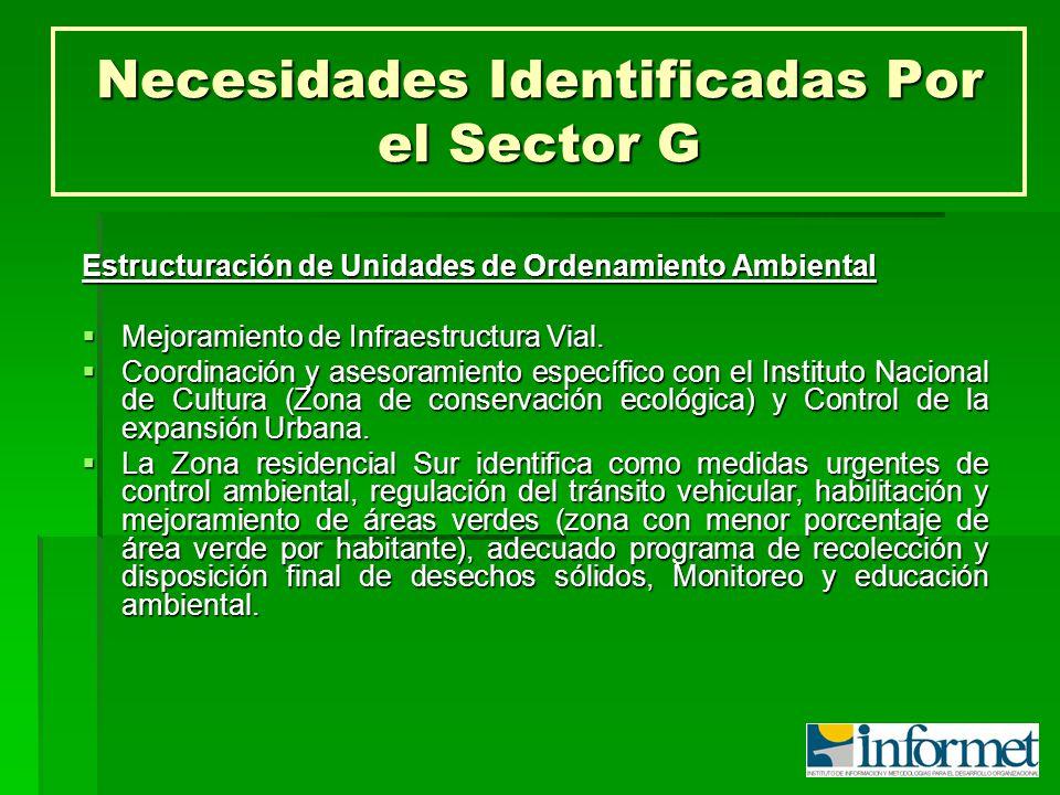 Necesidades Identificadas Por el Sector G Estructuración de Unidades de Ordenamiento Ambiental Mejoramiento de Infraestructura Vial. Mejoramiento de I
