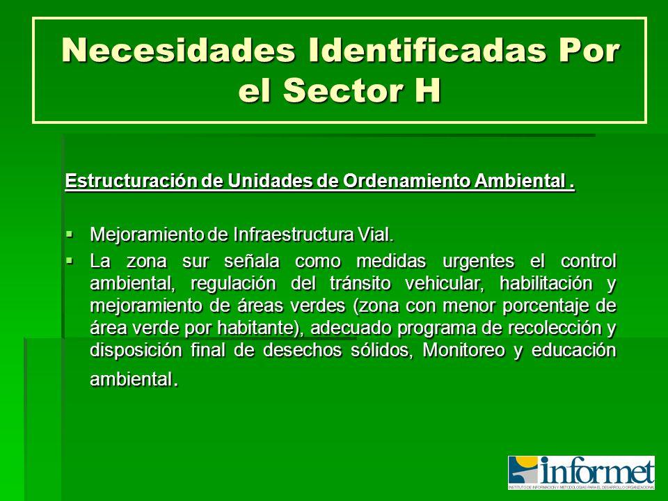 Necesidades Identificadas Por el Sector H Estructuración de Unidades de Ordenamiento Ambiental. Mejoramiento de Infraestructura Vial. Mejoramiento de