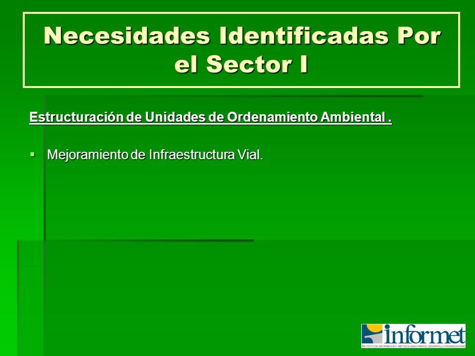 Necesidades Identificadas Por el Sector I Estructuración de Unidades de Ordenamiento Ambiental. Mejoramiento de Infraestructura Vial. Mejoramiento de