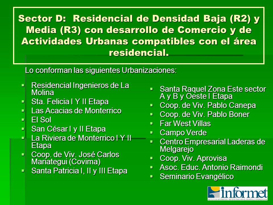 Sector D:Residencial de Densidad Baja (R2) y Media (R3) con desarrollo de Comercio y de Actividades Urbanas compatibles con el área residencial. Resid