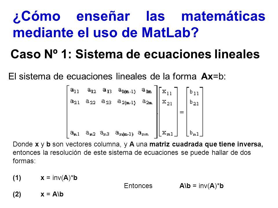 ¿Cómo enseñar las matemáticas mediante el uso de MatLab? Caso Nº 1: Sistema de ecuaciones lineales El sistema de ecuaciones lineales de la forma Ax=b: