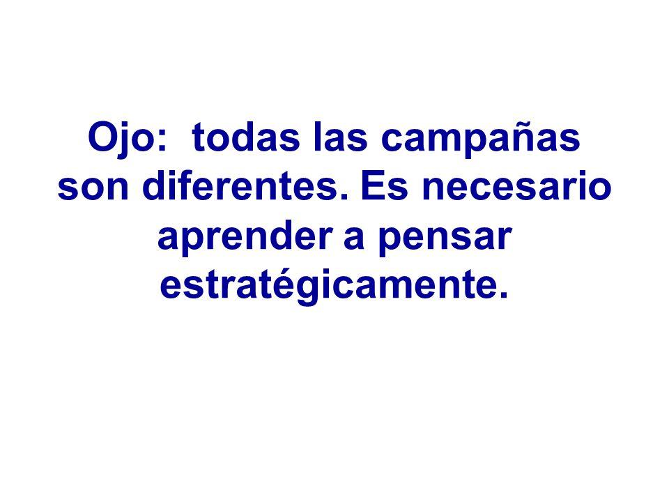 Ojo: todas las campañas son diferentes. Es necesario aprender a pensar estratégicamente.