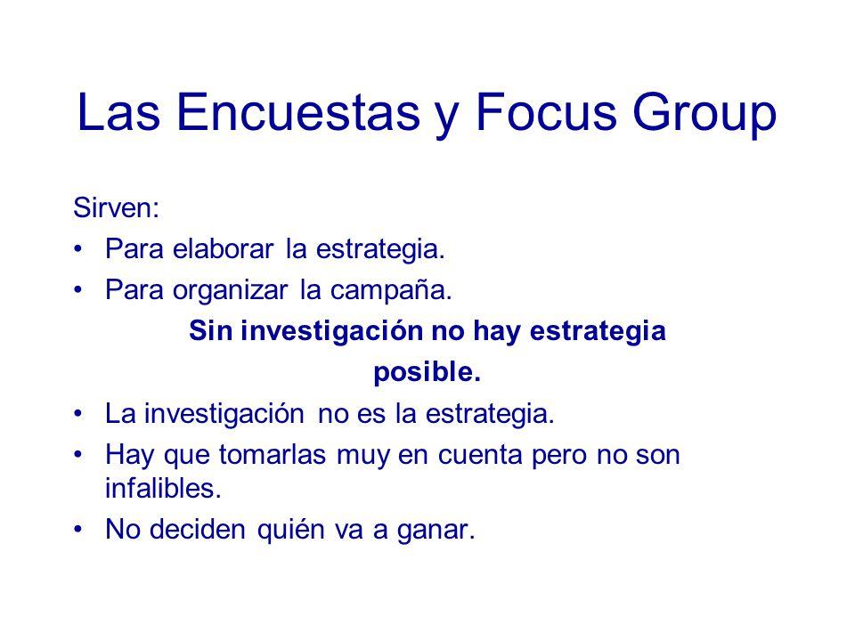 Las Encuestas y Focus Group Sirven: Para elaborar la estrategia.