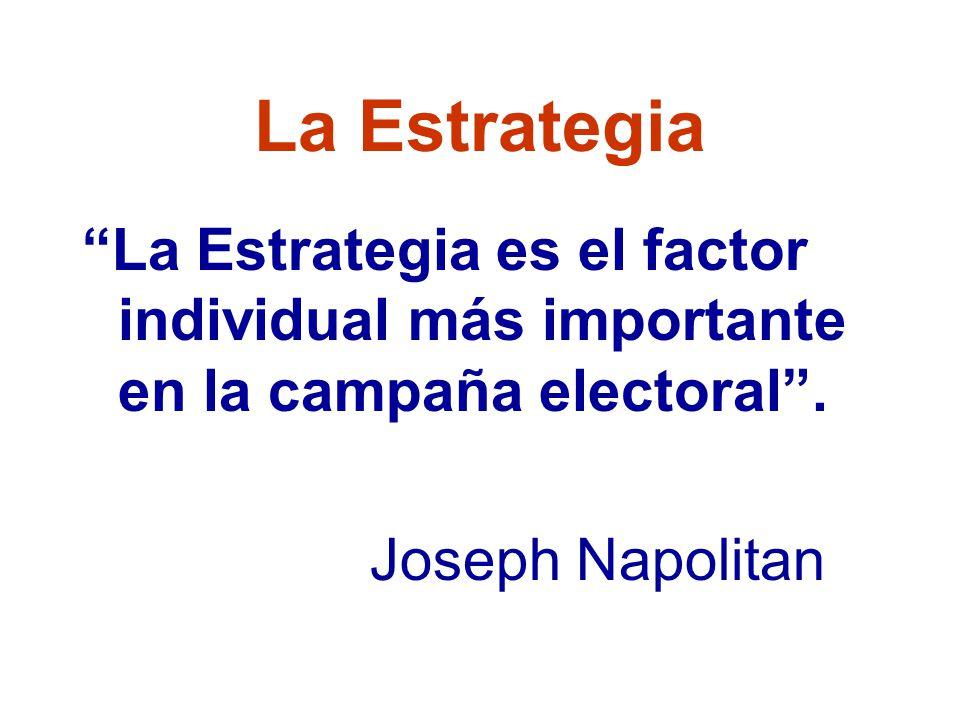 La Estrategia La Estrategia es el factor individual más importante en la campaña electoral.