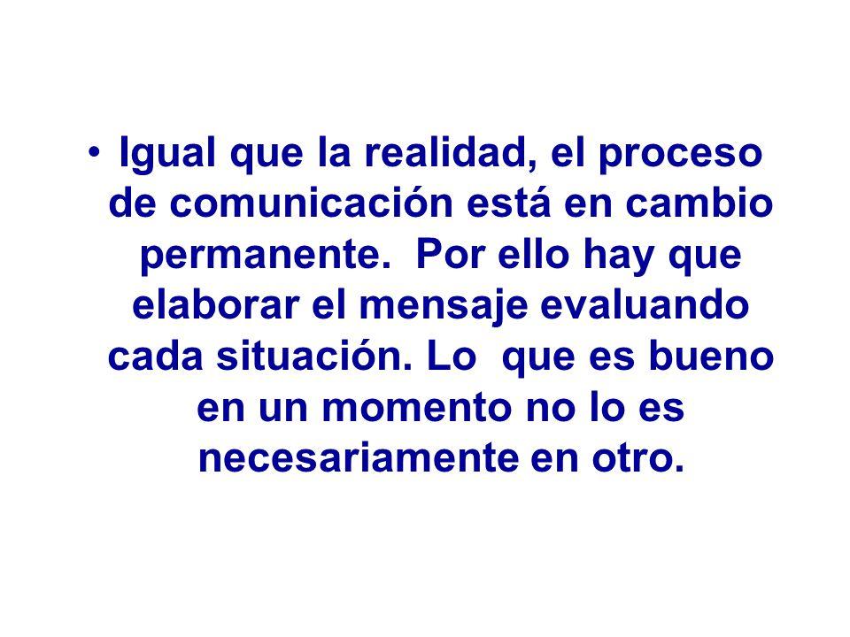 Igual que la realidad, el proceso de comunicación está en cambio permanente.