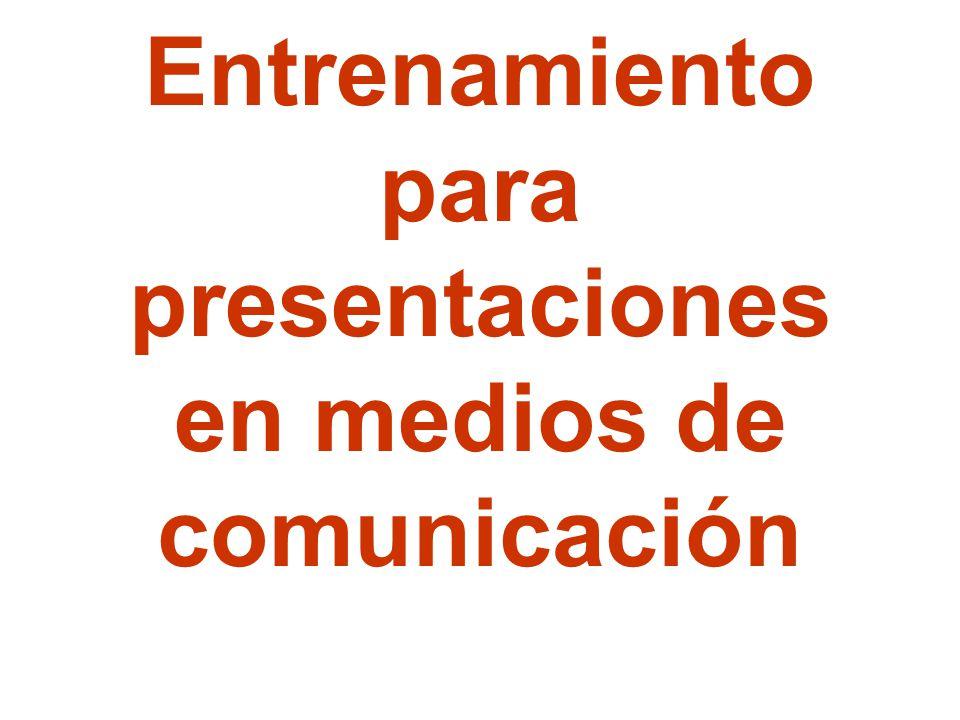 Entrenamiento para presentaciones en medios de comunicación