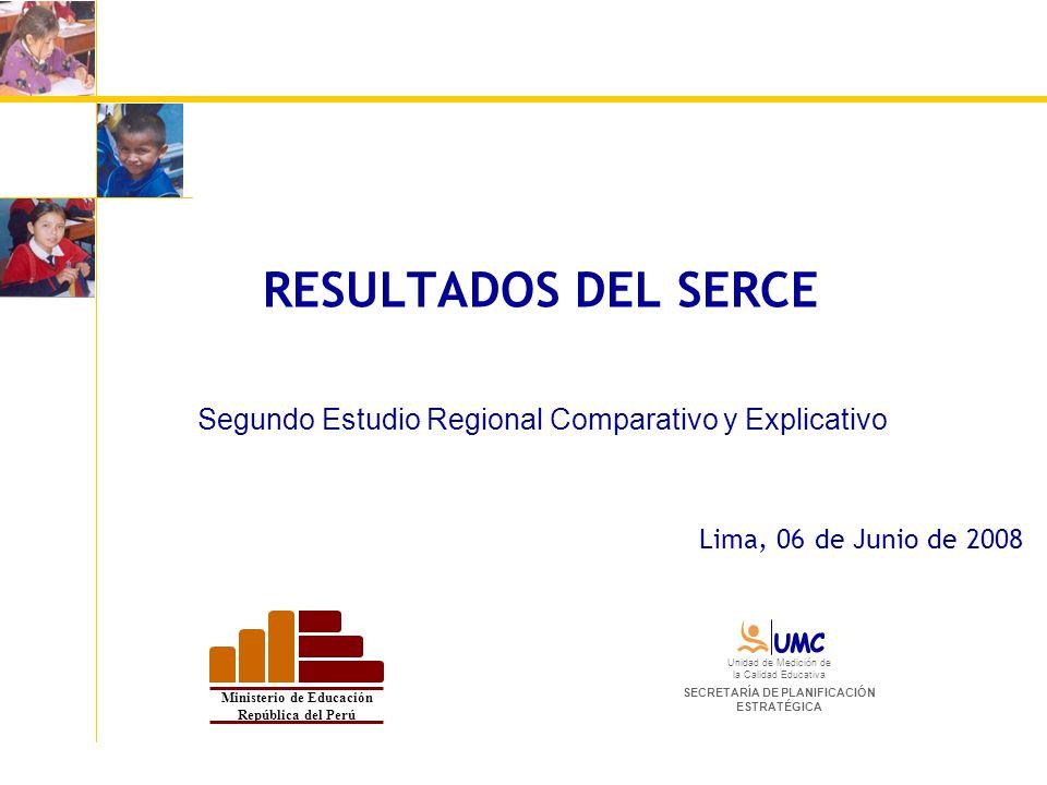 RESULTADOS DEL SERCE Segundo Estudio Regional Comparativo y Explicativo Lima, 06 de Junio de 2008 Ministerio de Educación República del Perú Unidad de