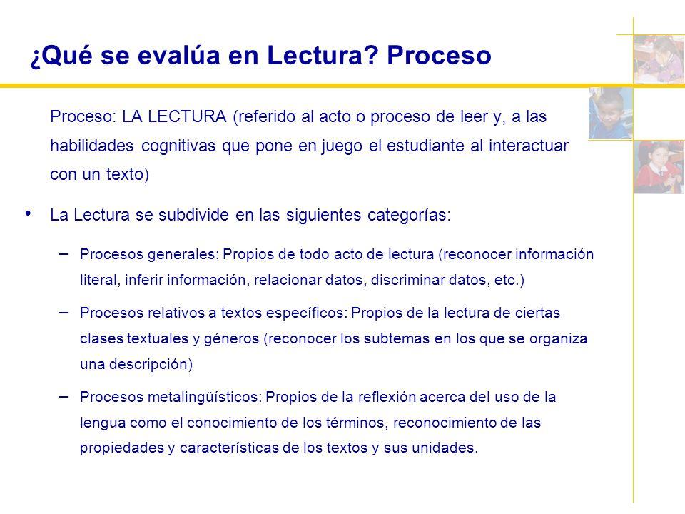 ¿ Qué se evalúa en Lectura? Proceso Proceso: LA LECTURA (referido al acto o proceso de leer y, a las habilidades cognitivas que pone en juego el estud