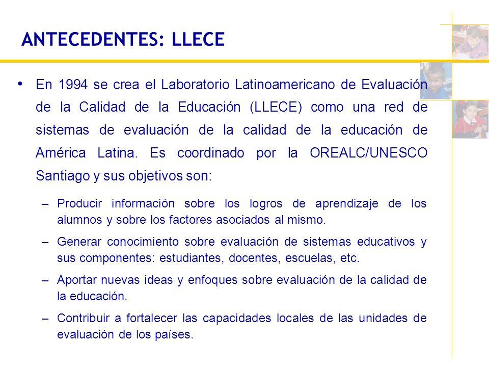 ANTECEDENTES: LLECE En 1994 se crea el Laboratorio Latinoamericano de Evaluación de la Calidad de la Educación (LLECE) como una red de sistemas de eva