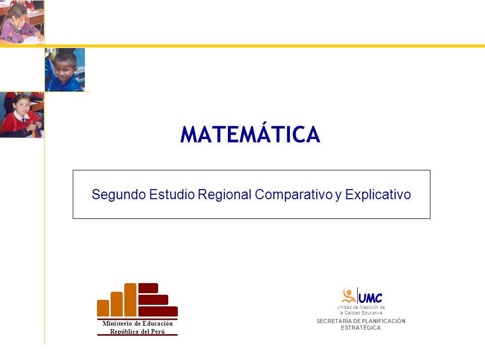 MATEMÁTICA Segundo Estudio Regional Comparativo y Explicativo Ministerio de Educación República del Perú Unidad de Medición de la Calidad Educativa SE