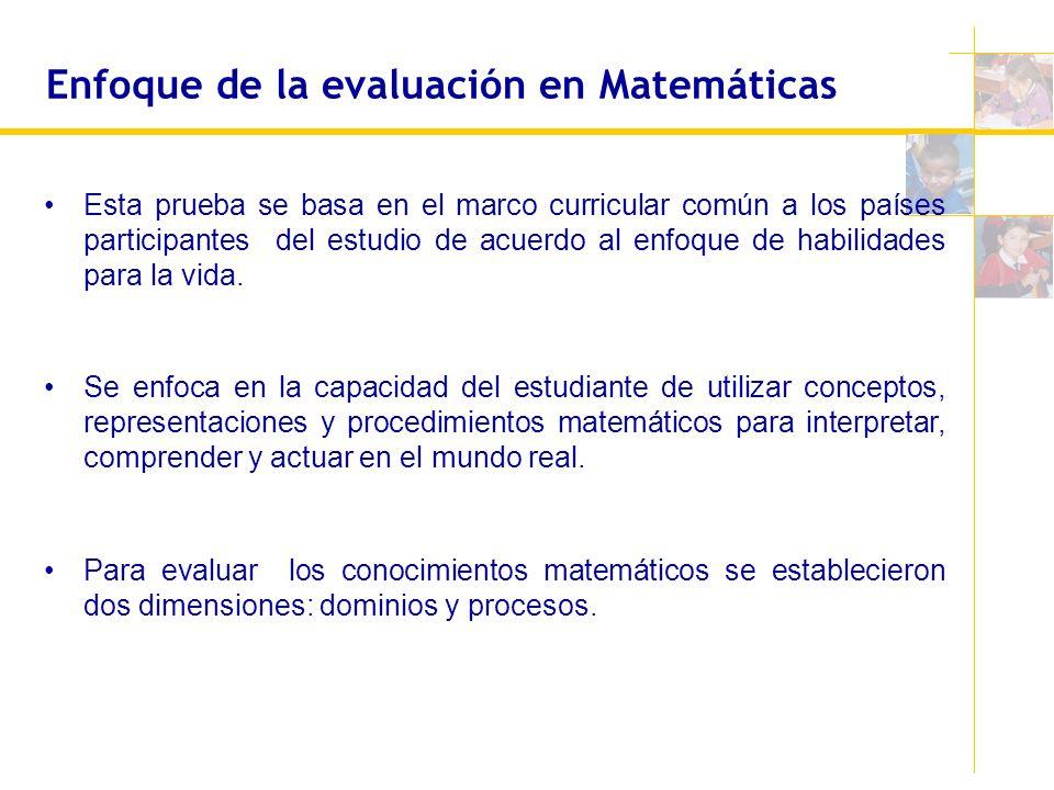 Enfoque de la evaluación en Matemáticas Esta prueba se basa en el marco curricular común a los países participantes del estudio de acuerdo al enfoque