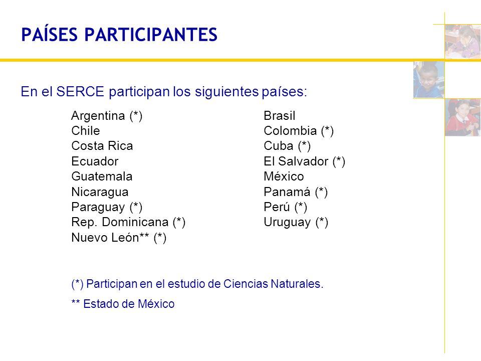 PAÍSES PARTICIPANTES En el SERCE participan los siguientes países: Argentina (*)Brasil ChileColombia (*) Costa RicaCuba (*) EcuadorEl Salvador (*) Gua