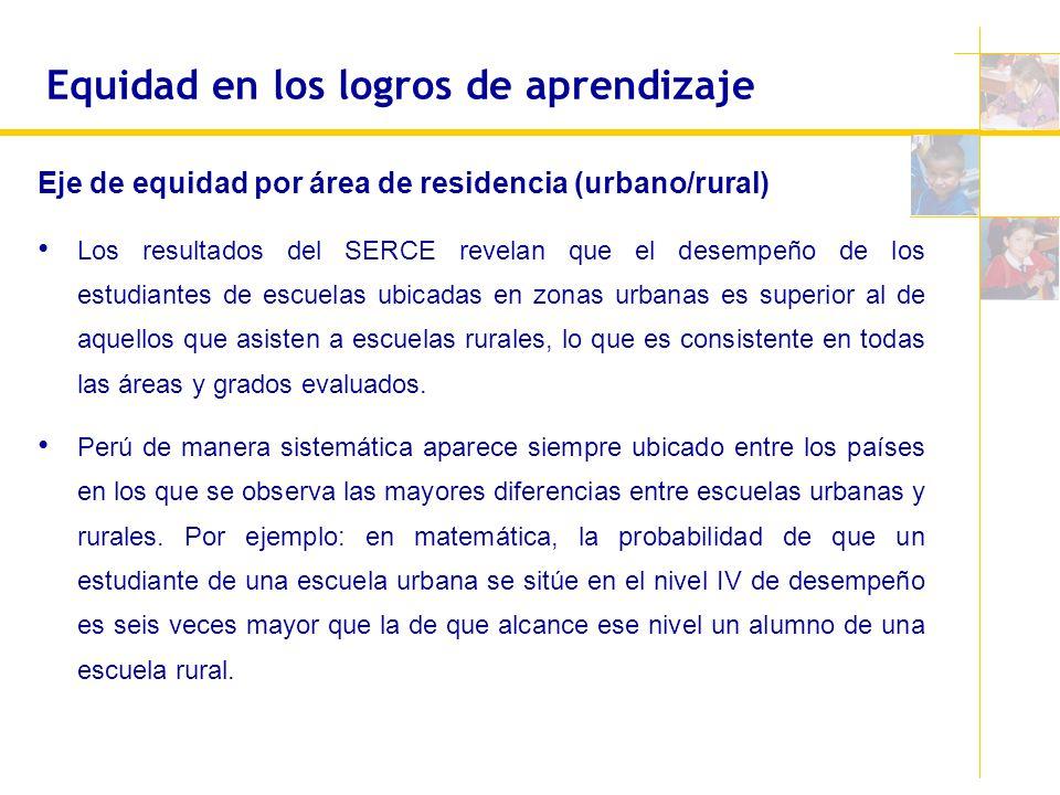Equidad en los logros de aprendizaje Eje de equidad por área de residencia (urbano/rural) Los resultados del SERCE revelan que el desempeño de los est