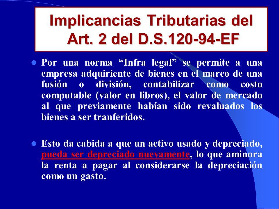 ¿Qué hizo el D.S 120-94-EF? Ampli ó il í citamente el sentido de la Ley N 26283 al precisar que