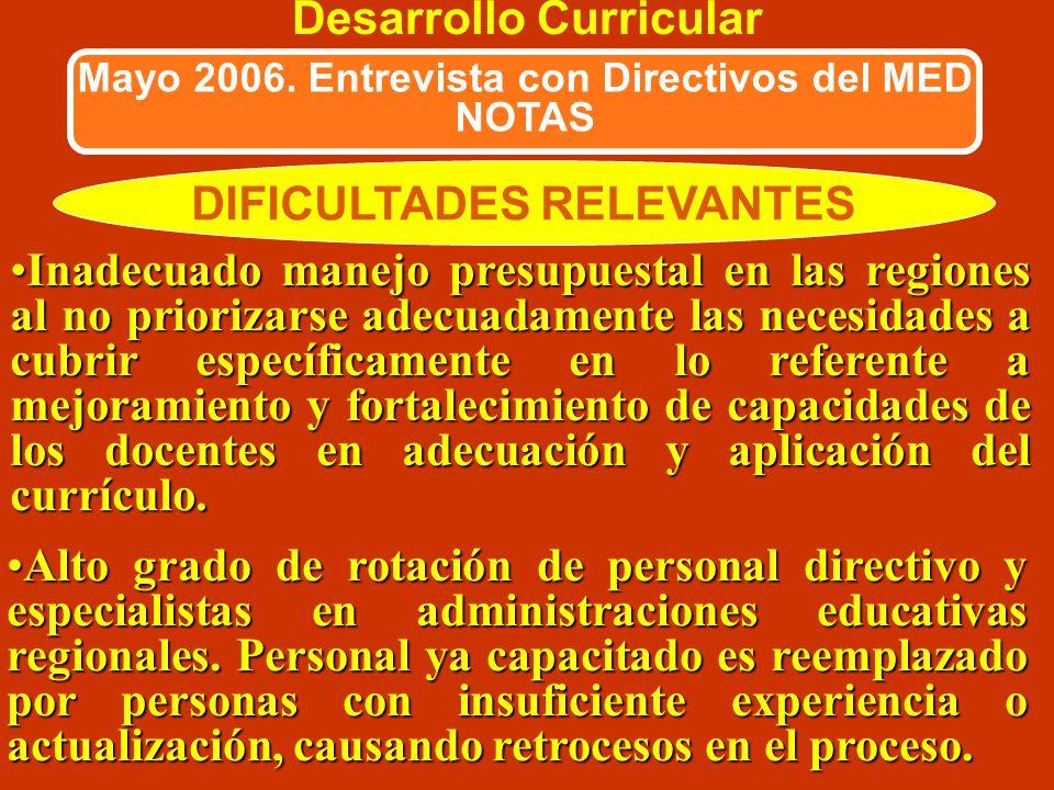 DIFICULTADES RELEVANTES Desarrollo Curricular Mayo 2006. Entrevista con Directivos del MED NOTAS No siempre se cuenta en cada Región con equipo que ap