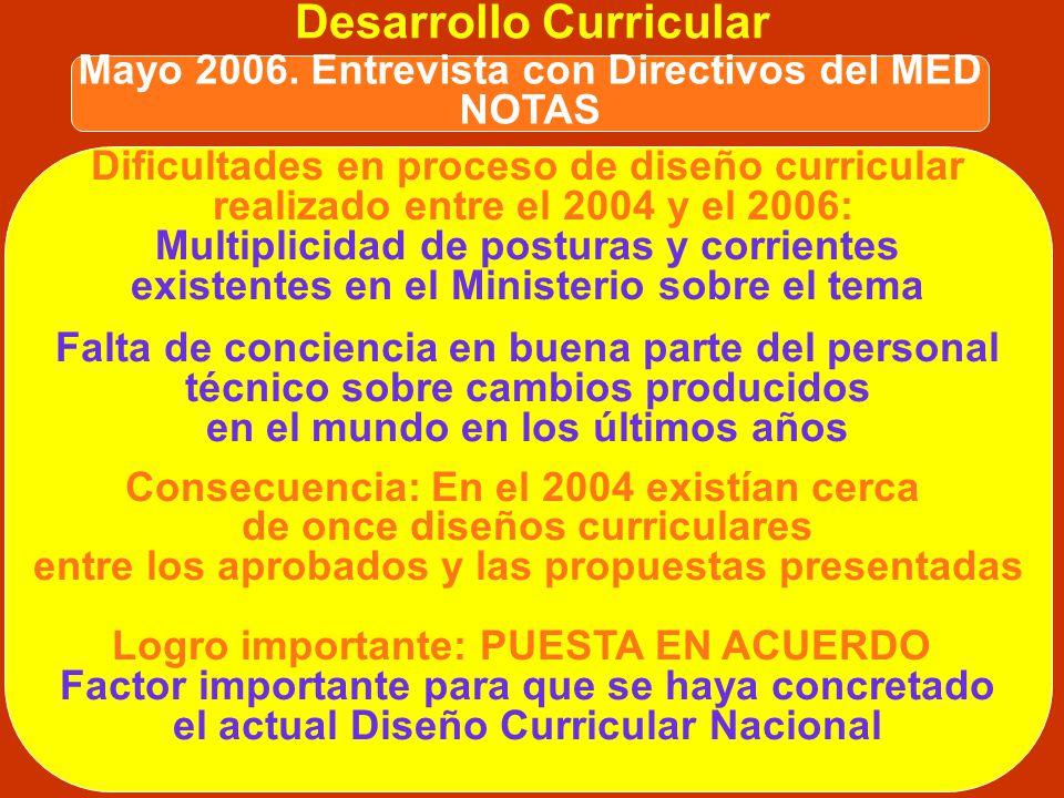 DIFICULTADES RELEVANTES Desarrollo Curricular Mayo 2006. Entrevista con Directivos del MED NOTAS Coordinación con Dirección Regional de Lima Metropoli