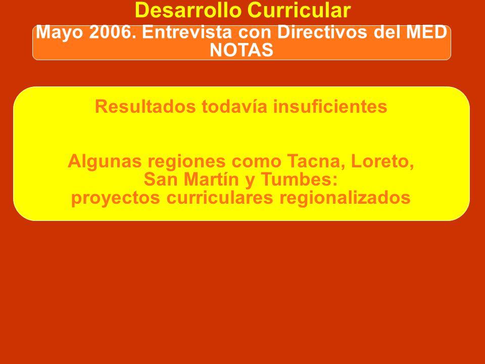 Desarrollo Curricular Dificultades en proceso de diseño curricular realizado entre el 2004 y el 2006: Multiplicidad de posturas y corrientes existente