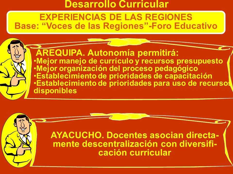 Desarrollo Curricular EXPERIENCIAS DE LAS REGIONES Base: Voces de las Regiones-Foro Educativo AREQUIPA. La mayoría de los colegios de Arequipa han rea