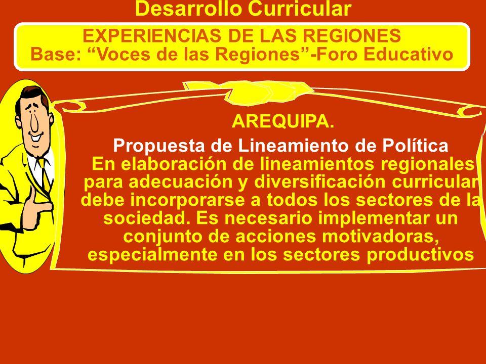 Desarrollo Curricular EXPERIENCIAS DE LAS REGIONES Base: Voces de las Regiones-Foro Educativo AYACUCHO. ¿Quiénes son responsables de la diversificació