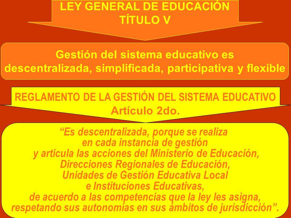 LEY GENERAL DE EDUCACIÓN TÍTULO V Gestión del sistema educativo es descentralizada, simplificada, participativa y flexible REGLAMENTO DE LA GESTIÓN DEL SISTEMA EDUCATIVO Artículo 2do.