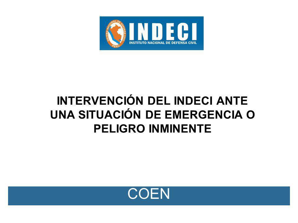 RJ Nº 316-2009-INDECI (13.11.2009) SE APROBÓ LOS PROTOCOLOS DE INTERVENCIÓN DEL INDECI ANTE UNA SITUACIÓN DE EMERGENCIA O PELIGRO INMINENTE CUANDO SE HA SUPERADO LA CAPACIDAD DE RESPUESTA DE LOS GGRR, DE ACUERDO AL DETALLE SIGUIENTE: -PROTOCOLO QUE NORMA EL CAMBIO DE CONDICIÓN DE FUNCIONAMIENTO DEL INDECI ANTE UNA SITUACION DE EMERGENCIA O DE PELIGRO INMINENTE.