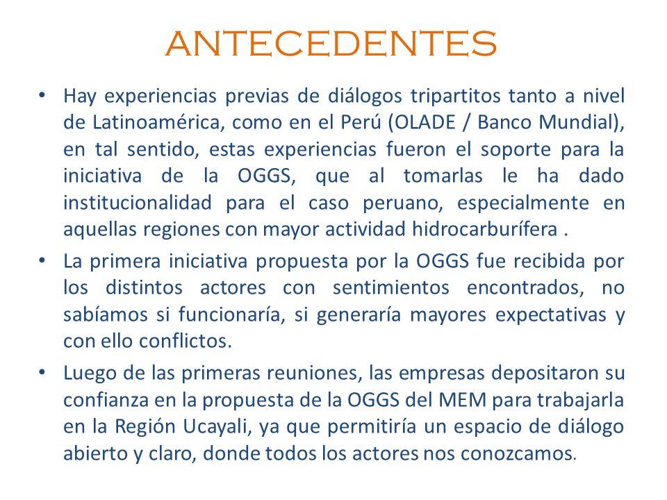 ANTECEDENTES Hay experiencias previas de diálogos tripartitos tanto a nivel de Latinoamérica, como en el Perú (OLADE / Banco Mundial), en tal sentido,